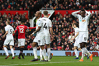 Tammy Abraham of Swansea City rues a missed chance during the Premier League match between Manchester United and Swansea City at the Old Trafford, Manchester, England, UK. Saturday 31 March 2018
