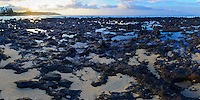 Sunrise over tide pools along a lava rock shoreline in Po'ipu, Kaua'i.