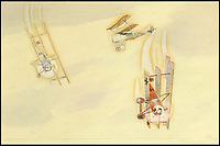 BNPS.co.uk (01202 558833)<br /> Pic: Sworders/BNPS<br /> <br /> 'Tripehounds!'<br /> <br /> An amazing set of watercolours painted whilst serving on the Western Front by Biggles creator W.E.Johns have emerged for sale.<br /> <br /> W.E.Johns was a bomber pilot in the fledgling RFC during the Great War, and his keen eye for detail has recorded Sopwith Camels and Fokker Triplane's wheeling through the skies.<br /> <br /> He was shot down and captured in 1918, but after the conflict he re-joined the RAF before creating boys own hero  James 'Biggles' Bigglesworth in the 1930's.<br /> <br /> Sworders 27th June, Est &pound;1000.
