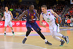 Turkish Airlines Euroleague 2017/2018.<br /> Regular Season - Round 13.<br /> FC Barcelona Lassa vs Unicaja Malaga: 83-90.<br /> Rakim Sanders vs Adam Waczynski.