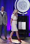 Christopher Jackson and Jane Krakowski on stage during the 2017 Tony Awards Nominations Announcement at The New York Public Library for the Performing Arts on May 2, 2017 in New York City