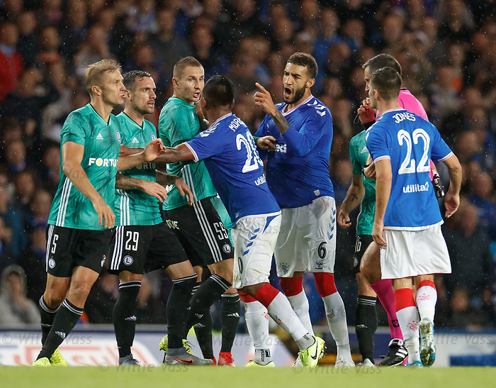 29.08.2019 Rangers v Legia Warsaw: Connor Goldson makes his point to Legia before the final whistle