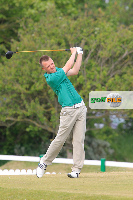 Paul McBride (The Island) on the 1st tee during the 3rd round of the East of Ireland Amateur Open Championship 2013 Co Louth Golf club 3/6/13<br /> Picture:  Thos Caffrey / www.golffile.ie
