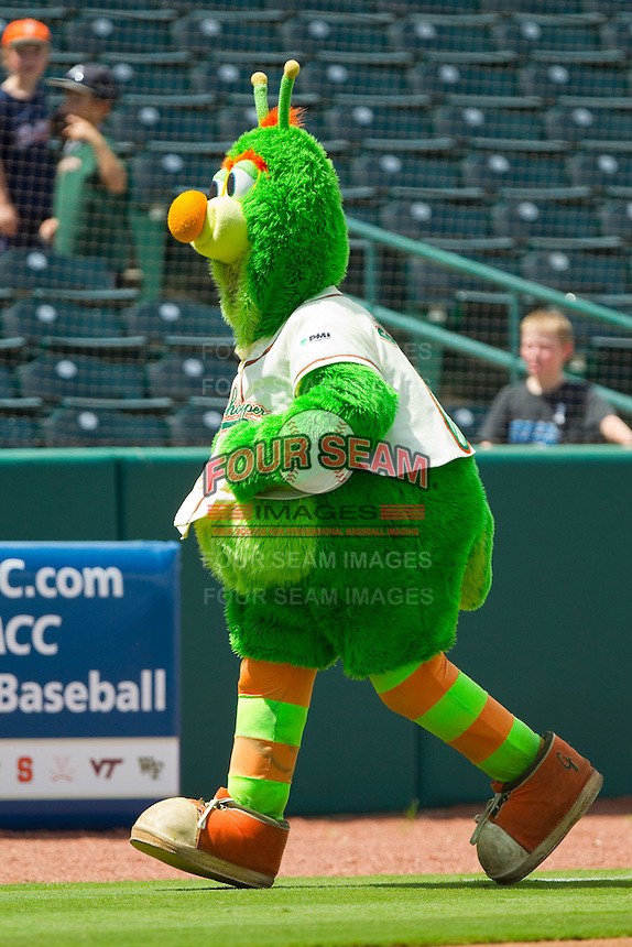 """Greensboro Grasshoppers mascot """"Guilford"""" races around the bases between innings of the South Atlantic League game against the Augusta GreenJackets at NewBridge Bank Park on August 11, 2013 in Greensboro, North Carolina.  The GreenJackets defeated the Grasshoppers 6-5 in game one of a double-header.  (Brian Westerholt/Four Seam Images)"""
