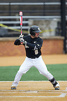 Joey Rodriguez (8) of the Wake Forest Demon Deacons at bat against the Towson Tigers at Wake Forest Baseball Park on March 1, 2015 in Winston-Salem, North Carolina.  The Demon Deacons defeated the Tigers 15-8.  (Brian Westerholt/Four Seam Images)