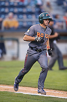 Mark Zagunis #6 of the Boise Hawks runs to first base during a game against the Everett AquaSox at Everett Memorial Stadium on July 22, 2014 in Everett, Washington. Everett defeated Boise, 6-0. (Larry Goren/Four Seam Images)