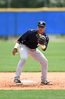 New York Yankees Bryan Cuevas (11) during practice before a minor league spring training game against the Toronto Blue Jays on March 24, 2015 at the Englebert Complex in Dunedin, Florida.  (Mike Janes/Four Seam Images)
