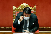 The Italian Prime Minister Giuseppe Conte wearing a mask during the information about Covid-19 emergency at the Senate.<br /> Rome (Italy), July 28th 2020<br /> Photo Samantha Zucchi Insidefoto