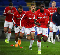26th November 2019; Cardiff City Stadium, Cardiff, Glamorgan, Wales; English Championship Football, Cardiff City versus Stoke City; Bruno Martins Indi of Stoke City warms up before the game - Strictly Editorial Use Only. No use with unauthorized audio, video, data, fixture lists, club/league logos or 'live' services. Online in-match use limited to 120 images, no video emulation. No use in betting, games or single club/league/player publications