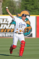 Salem Red Sox catcher Ryan Lavarnway of the Carolina League All-Stars throwing in the outfield before the California League vs. Carolina League All-Star game held at BB&T Coastal Field in Myrtle Beach, SC on June 22, 2010. The California League All-Stars defeated the Carolina League All-Stars by the score of 4-3.  Photo By Robert Gurganus/Four Seam Images