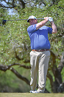 Jonathan Randolph (USA) watches his tee shot on 2 during Round 1 of the Valero Texas Open, AT&amp;T Oaks Course, TPC San Antonio, San Antonio, Texas, USA. 4/19/2018.<br /> Picture: Golffile | Ken Murray<br /> <br /> <br /> All photo usage must carry mandatory copyright credit (&copy; Golffile | Ken Murray)
