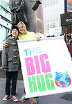 Anthony Rosenthal and Laura Heywood, aka @BroadwayGirlNYC, attends Big Hug Day: Broadway comes together to spread kindness and raise funds for Children's Hospitals on January 21, 2018 at Duffy Square, Times Square in New York City.