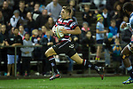 Piers Francis runs in for a Steelers try. The game of Three Halves, a pre-season warm-up game between the Counties Manukau Steelers, Northland and the All Blacks, played at ECOLight Stadium, Pukekohe, on Friday August 12th 2016. Photo by Richard Spranger.