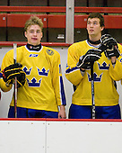 Adam Pettersson (Sweden - 18), Jonathan Johansson (Sweden - 20) - Sweden's Under-20 team defeated the Harvard University Crimson 2-1 on Monday, November 1, 2010, at Bright Hockey Center in Cambridge, Massachusetts.