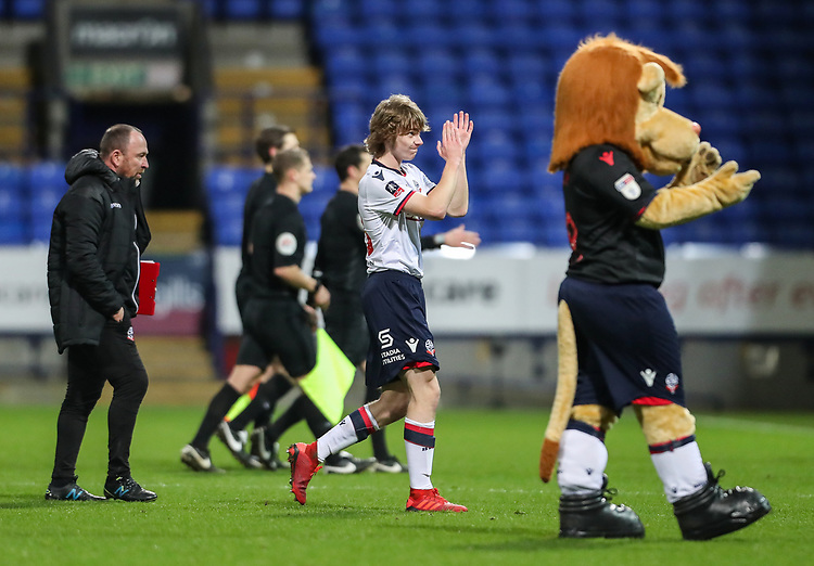 Bolton Wanderers' Luca Connell applauds the home supporters at the end of the match<br /> <br /> Photographer Andrew Kearns/CameraSport<br /> <br /> Emirates FA Cup Third Round - Bolton Wanderers v Walsall - Saturday 5th January 2019 - University of Bolton Stadium - Bolton<br />  <br /> World Copyright © 2019 CameraSport. All rights reserved. 43 Linden Ave. Countesthorpe. Leicester. England. LE8 5PG - Tel: +44 (0) 116 277 4147 - admin@camerasport.com - www.camerasport.com