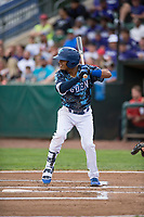 Ogden Raptors second baseman Jeremy Arocho (8) at bat during a Pioneer League game against the Billings Mustangs at Lindquist Field on August 17, 2018 in Ogden, Utah. The Billings Mustangs defeated the Ogden Raptors by a score of 6-3. (Zachary Lucy/Four Seam Images)