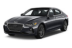 2019 Genesis G70  Prestige 4 Door Sedan angular front stock photos of front three quarter view