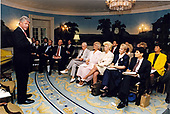 United States President Bill Clinton meets with Oklahona State Leaders who are visiting the White House in Washington, DC for a serles of brieflngs on the President's deficit reductlon plan, the reconcillatlon process and the beneflts of thls package for the Oklahona economy on August 3, 1993. Oklahoma State Leaders attending include: Ken Sue Dorfel, Chalr, Judlclal Appointments for US Senator David Boren (Democrat of Oklahoma);  Charles Rusty Harrlson, Jr., of Lindsay OK, CEO, Allied Gypsum and Director, DLC of OK; Teresa McGeehee, of Durant, OK, Dlstrlct Attorney, Thlrd<br /> District; Mayor Susan Savage (Democrat of Tulsa, OK) and Governor Davld Walters (Democrat of Oklahoma).<br /> Credit: White House via CNP