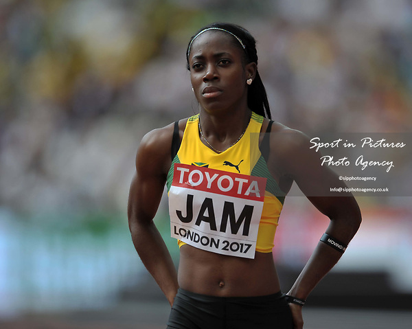 Sashalee Forbes (JAM) in the womens 4 x 100m relay. IAAF world athletics championships. London Olympic stadium. Queen Elizabeth Olympic park. Stratford. London. UK. 12/08/2017. ~ MANDATORY CREDIT Garry Bowden/SIPPA - NO UNAUTHORISED USE - +44 7837 394578