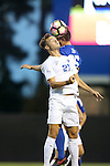 27 September 2016: Georgia State's Max Hemmings (ENG) (21) and Duke's Cody Brinkman (25) challenge for a header. The Duke University Blue Devils hosted the Georgia State University Panthers at Koskinen Stadium in Durham, North Carolina in a 2016 NCAA Division I Men's Soccer match. Georgia State won the game 2-1 in two overtimes.