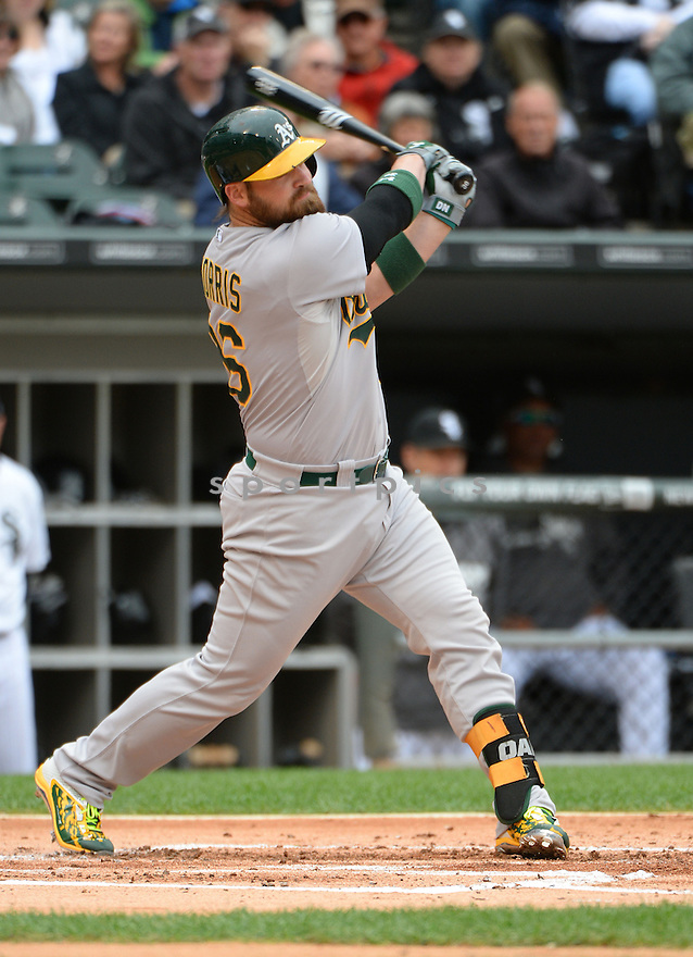 Oakland A's Derek Norris (36) during a game against the Chicago White Sox on September 11, 2014 at US Cellular Field in Chicago, IL. The Sox beat the A's 1-0.