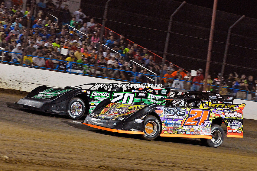 May 25, 2013; 10:20:48 PM; Wheatland, Mo., USA; The  Lucas Oil Late Model Dirt Series running the 21st Annual Lucas Oil Show-Me 100 Presented by ProtectTheHarvest.com.  Mandatory Credit: (thesportswire.net)