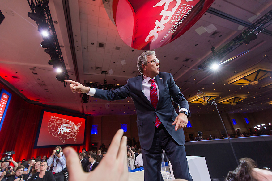 Former Florida Governor Jeb Bush greets the crowd after speaking at the 2015 Conservative Political Action Conference (CPAC) outside Washington, DC