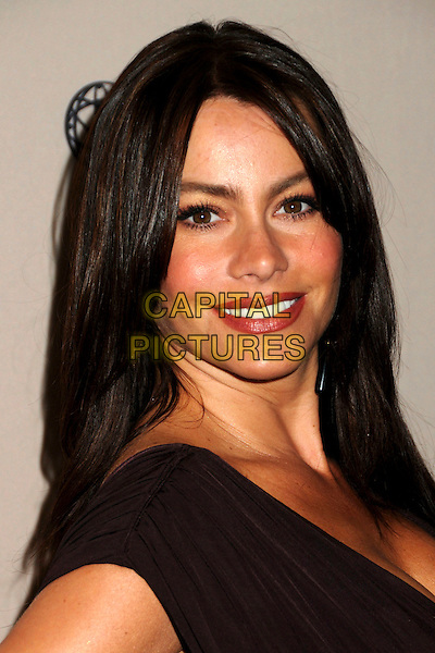 """SOFIA VERGARA  .The Academy of Television Arts & Sciences presents An Evening with """"Modern Family"""" held at the Leonard H. Goldenson Theatre, North Hollywood, California, USA. .March 3rd, 2010.headshot portrait sophia viagra brown purple aubergine dress side .CAP/ADM/BP.©Byron Purvis/AdMedia/Capital Pictures."""