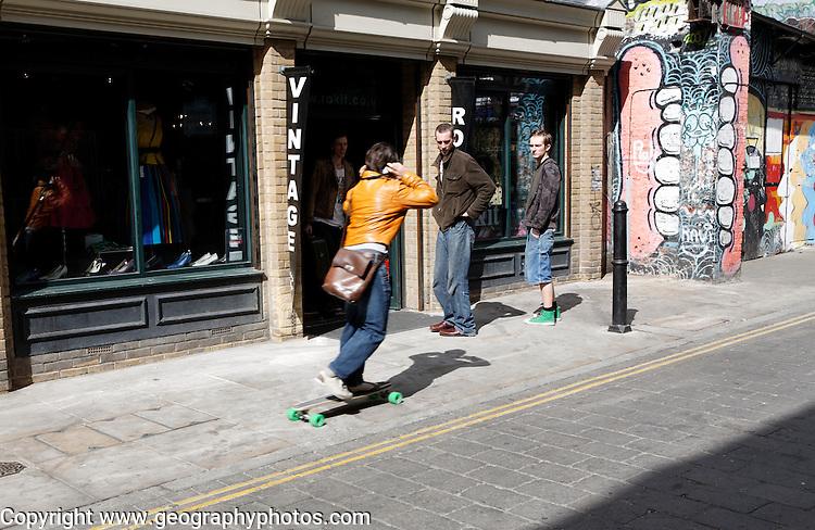 Skateboarder Vintage clothes shop Brick Lane