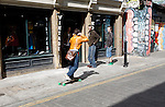 Skateboarder Vintage clothes shop Brick Lane