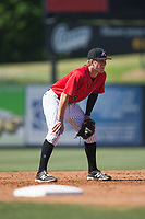 Kannapolis Intimidators third baseman Zach Remillard (8) on defense against the Asheville Tourists at Kannapolis Intimidators Stadium on May 7, 2017 in Kannapolis, North Carolina.  The Tourists defeated the Intimidators 4-1.  (Brian Westerholt/Four Seam Images)