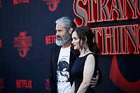 "LOS ANGELES - JUN 28:  Scott Hahn, Winona Ryder at the ""Stranger Things"" Season 3 World Premiere at the Santa Monica High School on June 28, 2019 in Santa Monica, CA"