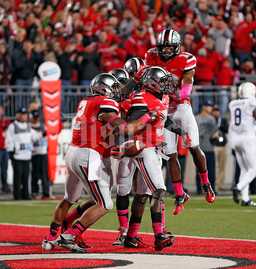 Ohio State Buckeyes defensive back Corey Brown (3) celebrates an interception against Penn State Nittany Lions in the 1st quarter at Ohio Stadium on October 26, 2013.  (Dispatch photo by Kyle Robertson)