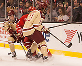 Julius Mattila (BC - 26), Chad Krys (BU - 5), Chris Calnan (BC - 11) - The Boston University Terriers defeated the Boston College Eagles 3-1 in their opening Beanpot game on Monday, February 6, 2017, at TD Garden in Boston, Massachusetts.
