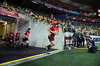 Sam Whitelock leads the Crusaders out for the Super Rugby match between the Hurricanes and Crusaders at Westpac Stadium in Wellington, New Zealand on Friday, 29 March 2019. Photo: Dave Lintott / lintottphoto.co.nz