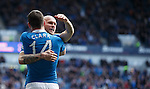 Nicky Clark celebrates his opener for Rangers with Nicky Clark