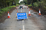 Police Road Closed sign with bollards UK Bawdsey, Suffolk, England