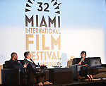 MIAMI BEACH, FL - MARCH 10: Cheryl Boone Isaacs (R), President of the Academy of Motion Picture Arts &amp; Sciences (AMPAS) attends a conversation with Miami Film Festival Executive Director Jaie Laplante (C) and Kevin Sharpley (L) at O Cinema Miami Beach of Miami Beach on Tuesday March 10, 2015 in Miami Beach, Florida. <br /> ( Photo by Johnny Louis / jlnphotography.com )