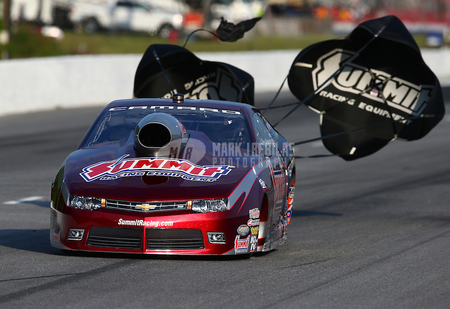 May 17, 2014; Commerce, GA, USA; NHRA pro stock driver Greg Anderson during qualifying for the Southern Nationals at Atlanta Dragway. Mandatory Credit: Mark J. Rebilas-USA TODAY Sports