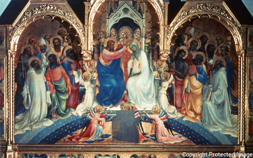 Paintings:  Lorenzo Monaco--Coronation of the Virgin Mary.  Galleria Uffizi, Florence.  Reference only.