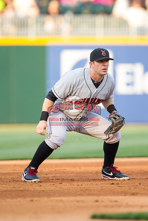 Indianapolis Indians third baseman Brent Morel (5) on defense against the Charlotte Knights at BB&T Ballpark on May 23, 2014 in Charlotte, North Carolina.  The Indians defeated the Knights 15-6.  (Brian Westerholt/Four Seam Images)