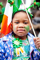 17/3/2011. ST PATRICKS DAY DUBLIN. 2 yr old Charity is pictured on College Green enjoying the Dublin St Patricks Day Parade. Picture James Horan/Collins Photos