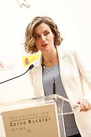 Queen Letizia of Spain attends the opening of 2015-2016 scholarship course at 'Marques de Santillana' school on September 21, 2015 in Palencia, Spain. September 21,2015. (ALTERPHOTOS/Acero) /NortePhoto.com