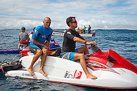 CLOUDBREAK, Tavarua/Fiji (Friday, June 8, 2012)  Jon Roseman (USA) and Kelly Slater (USA) watch the action on Filty Friday. -  The best day of paddle surfing ever seen at Cloudbreak happen today with the swell in the12'-15' range from the south.  The surf pumped all day with amazing performances from of the world best big wave paddle in surfers. The Volcom Fiji Pro completed the last two heats of Round Two with Bede Durbidge and Kai Otten advancing before being call off for the day. Photo: joliphotos.com