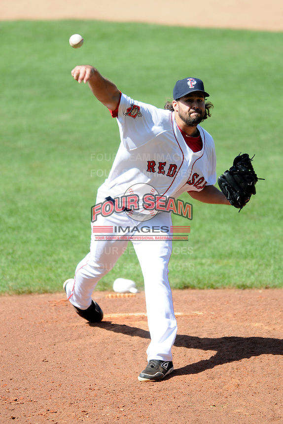 Pawtucket Red Sox pitcher Anthony Carter #48 during a game versus the Louisville Bats at McCoy Stadium in Pawtucket, Rhode Island on August 14, 2013.  (Ken Babbitt/Four Seam Images)