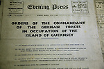 Newspaper with orders of German commandant, German Underground Military hospital, Guernsey, Channel Islands, UK