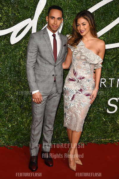 Nicole Scherzinger and Lewis Hamilton arrives for British Fashion Awards 2014 at the London Coliseum, Covent Garden, London. 01/12/2014 Picture by: Steve Vas / Featureflash