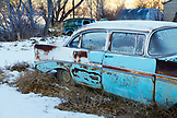 USA, Utah, old car in the snow, Glendale, Hwy 89