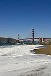 San Francisco: Baker Beach with Golden Gate Bridge in background.  Photo # 2-casanf83361.  Photo copyright Lee Foster