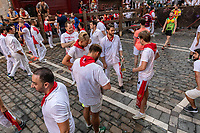 Europe,Spain,Pamplona,San Firmin festival 2018, Encierro, some runners ready to follow the bulls ride